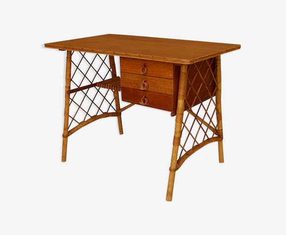 Rattan desk by Louis Sognot, 1950