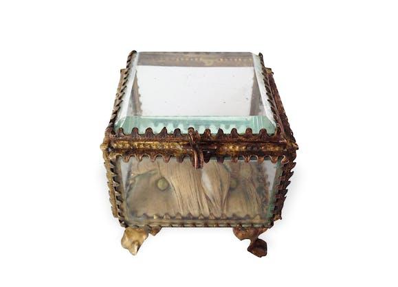 coffret bijoux napol on iii verre et cristal vintage 12928. Black Bedroom Furniture Sets. Home Design Ideas