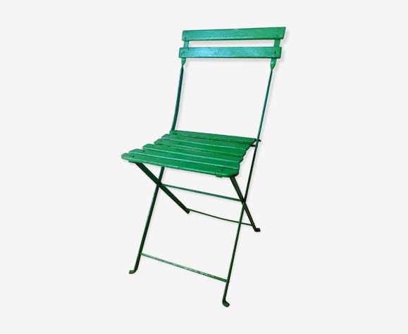 Chaise de jardin ancienne - bois (Matériau) - vert - vintage - CUTkSRM