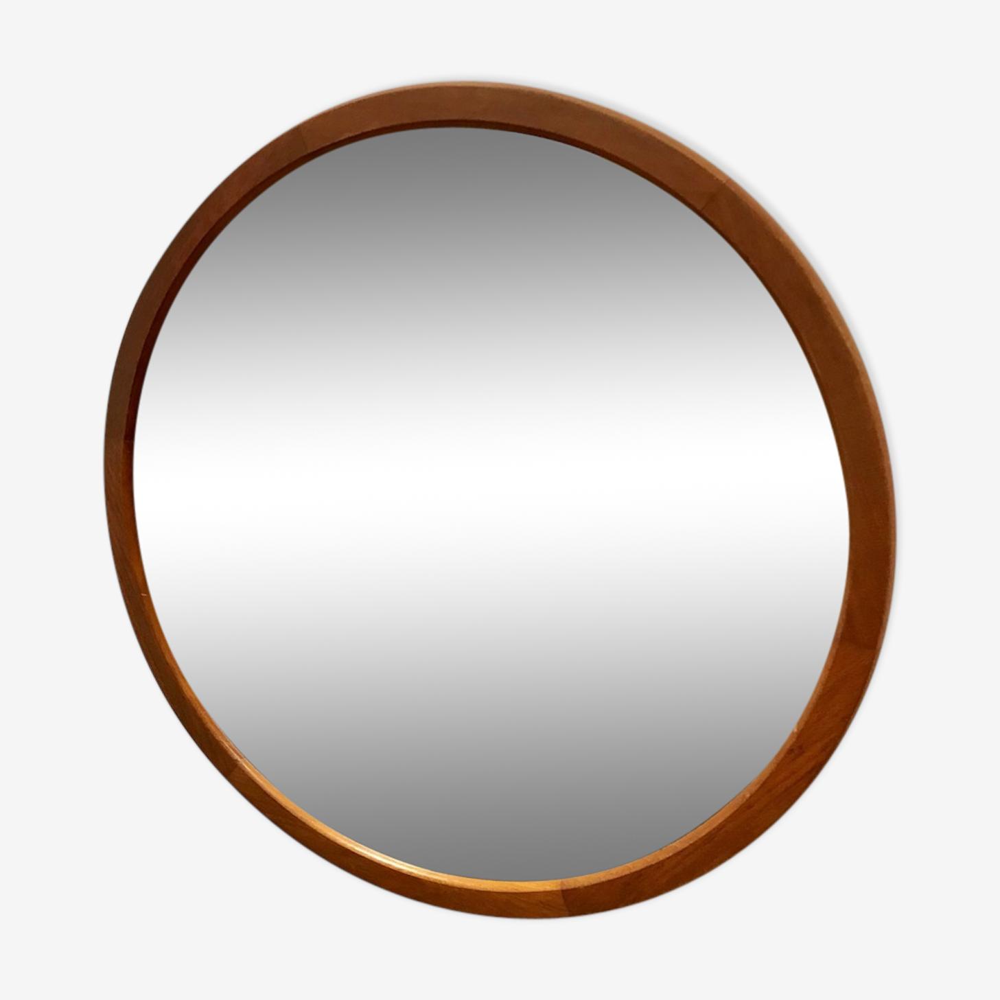 Mirror scandinavian teak round around 1960 - 60x60cm
