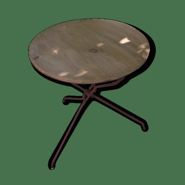 Table jardin pliante m tal et bois ancienne fer noir industriel 98186 - Table jardin bois et metal rouen ...