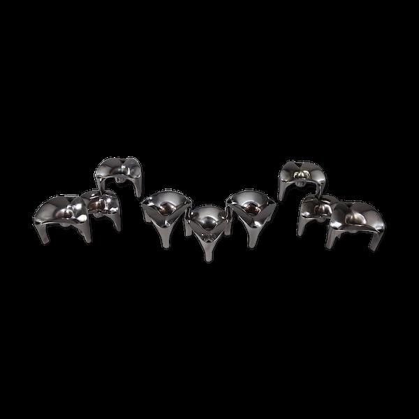 9 bougeoirs modulables en métal chromé, Nagel, Allemagne