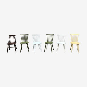 Set of 6 chairs bistro bistro vintage brewery colorful