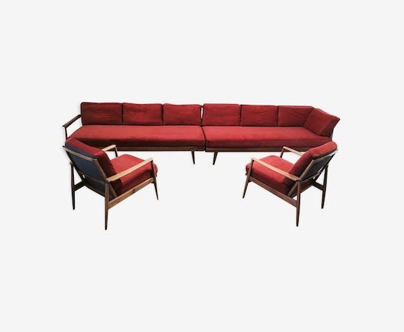 Ensemble modulable de 2 canapés et 2 fauteuils design 1950