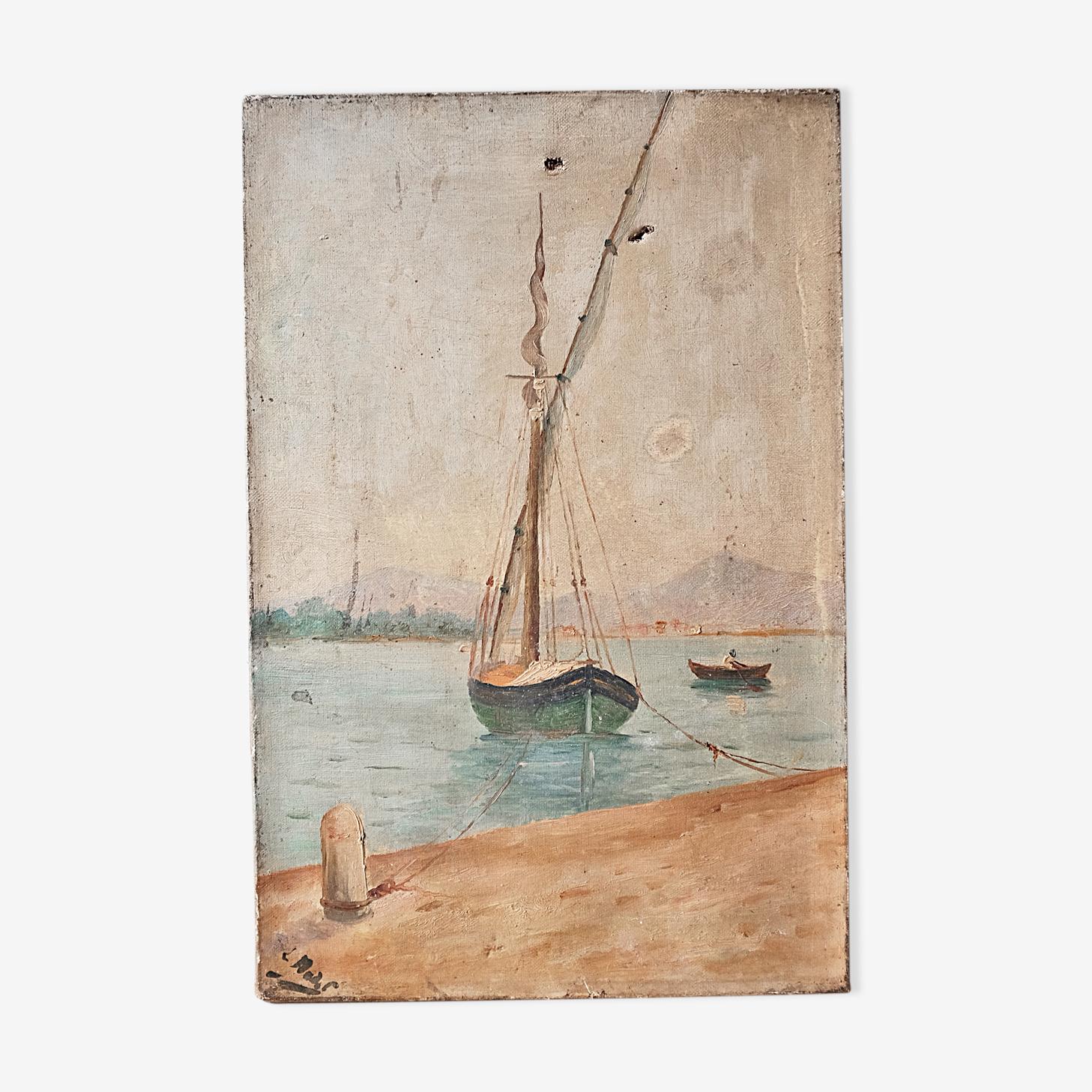 Old paintings signed, Marine nineteenth century