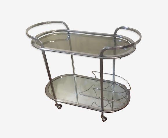 Table Basse Roulante En Metal Chrome Metal Argent Couleur
