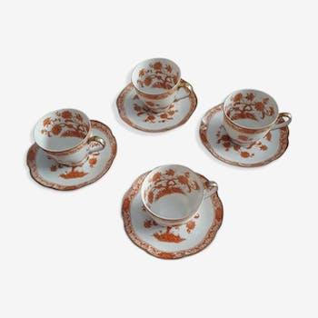 "4 coffee cups Haviland Limoges model ""Coral Tree"" 1958"