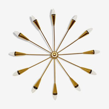 Italian mid-century modern brass sputnik flush light