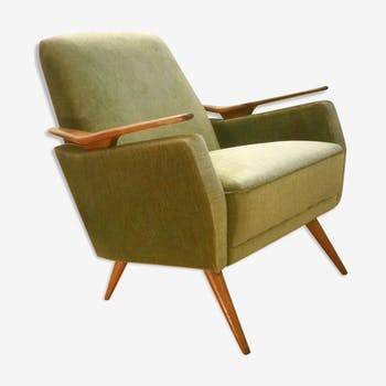 Club Chair fabric with armrests teak 50s 60s