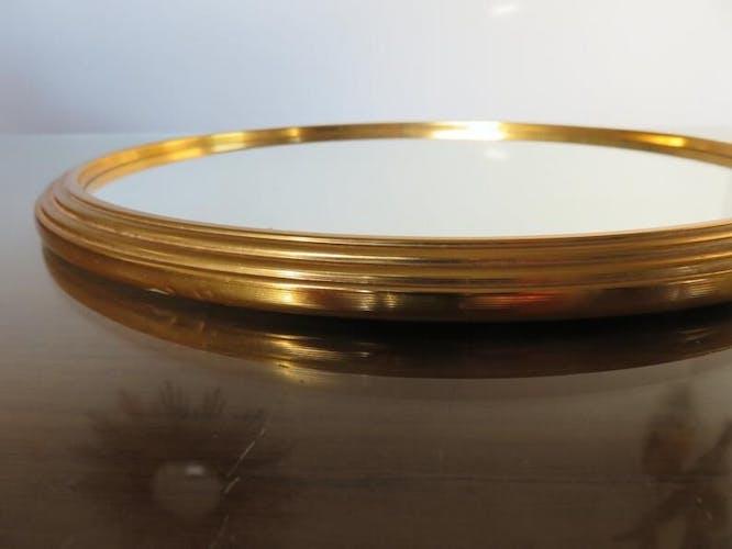 Plateau miroir rond en métal doré années 50