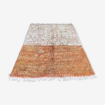 Tapis berbere vintage beni ourain 215x285 cm fait main en laine