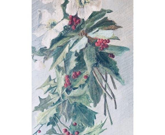 Tableau ancien bouquet hivernal