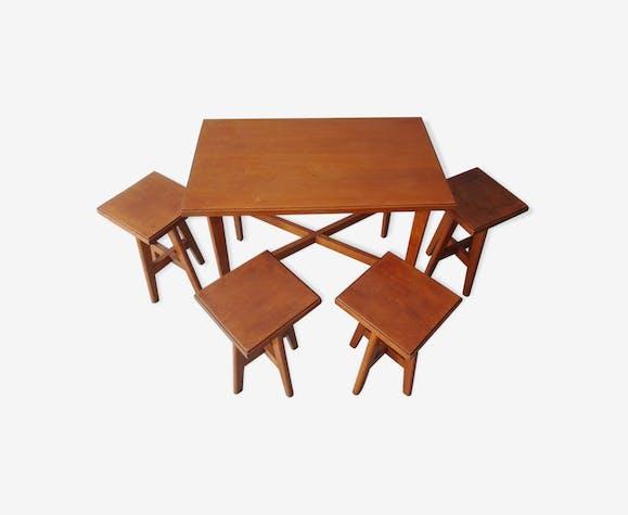 Table enfant vintage et ses 4 tabourets