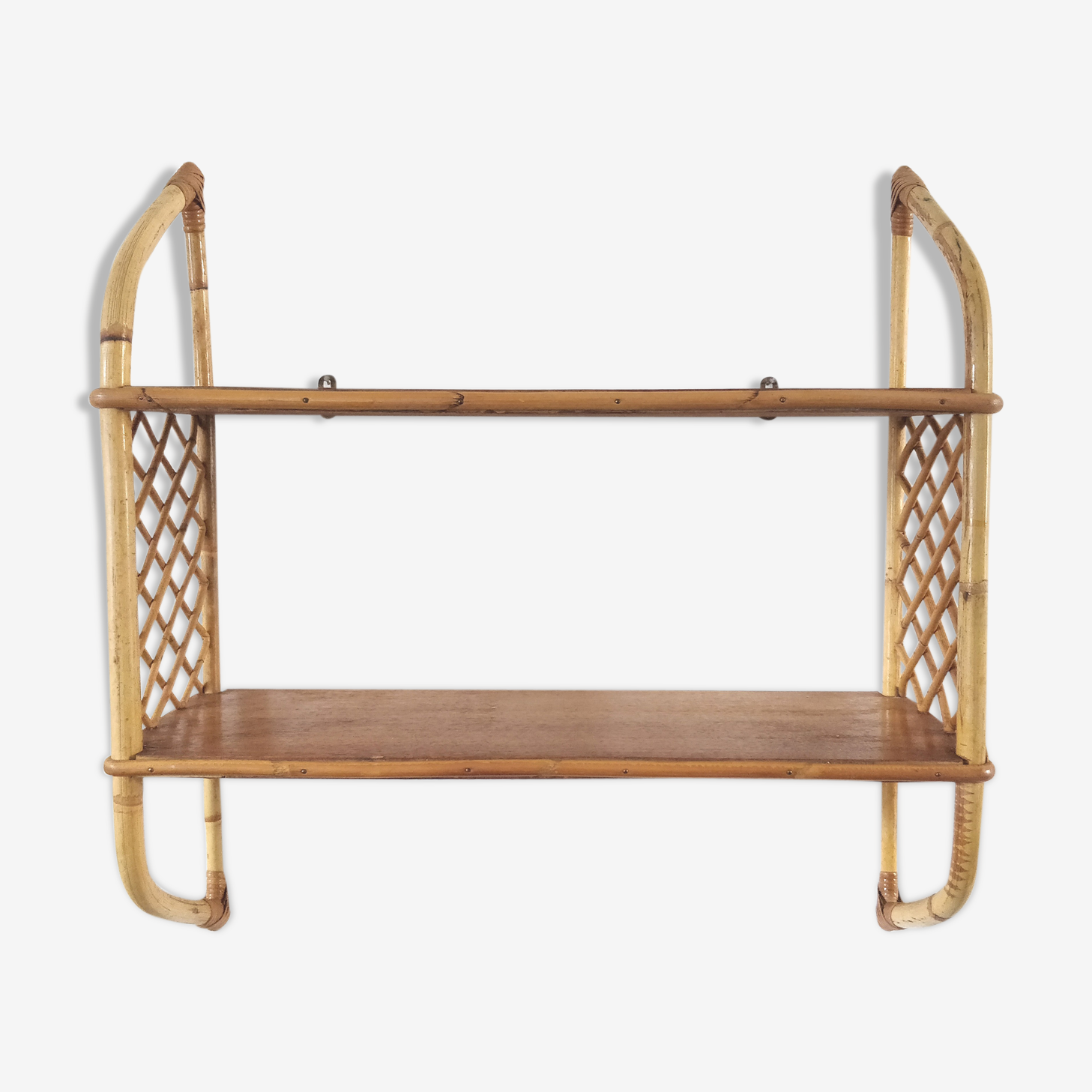 Vintage rattan wall shelf
