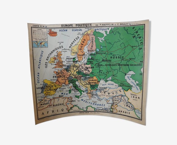 Old school vintage Europe 1960 map - paper - multicolour - vintage ...