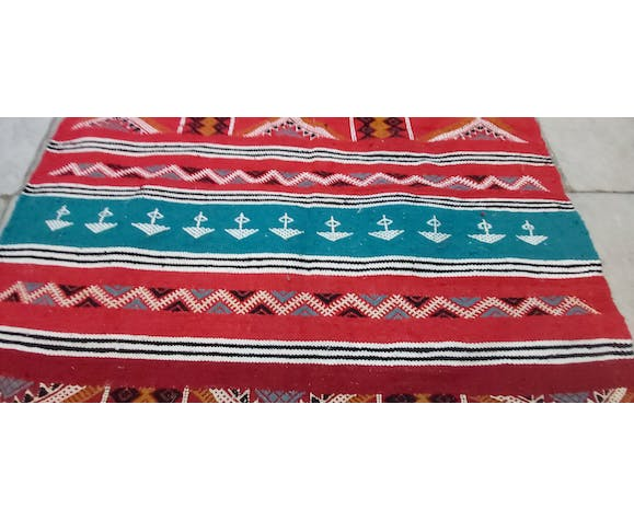 Traditional handmade red and blue carpet 120x205cm