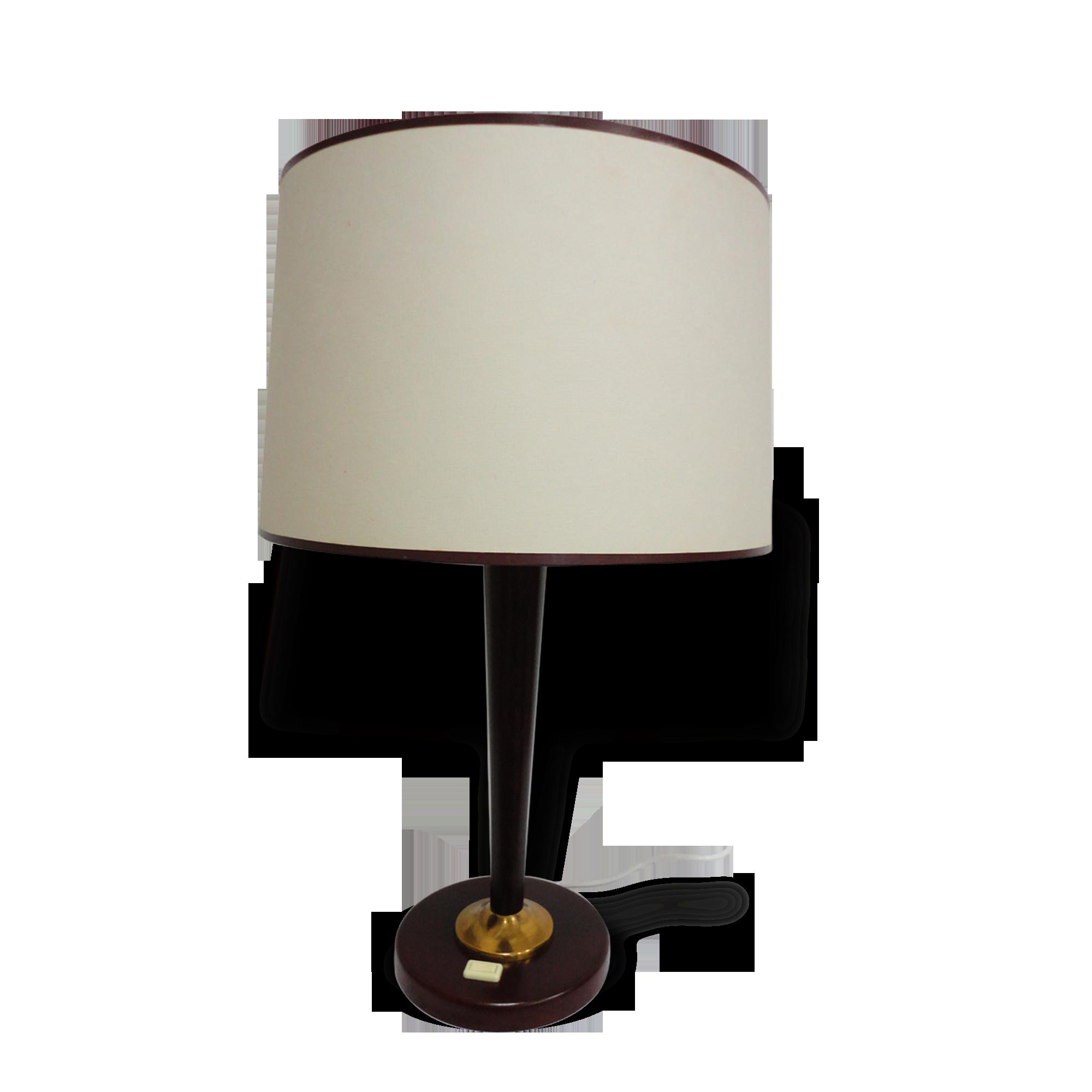 Grande lampe de bureau bois et laiton bois matériau marron