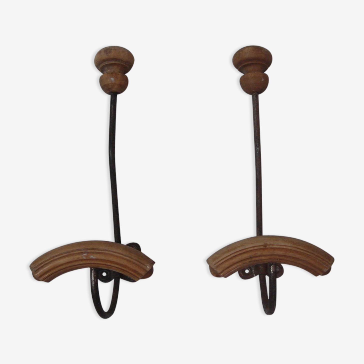 Set de 2 porte-manteau porte-chapeau avec patères en bois de 1930/40