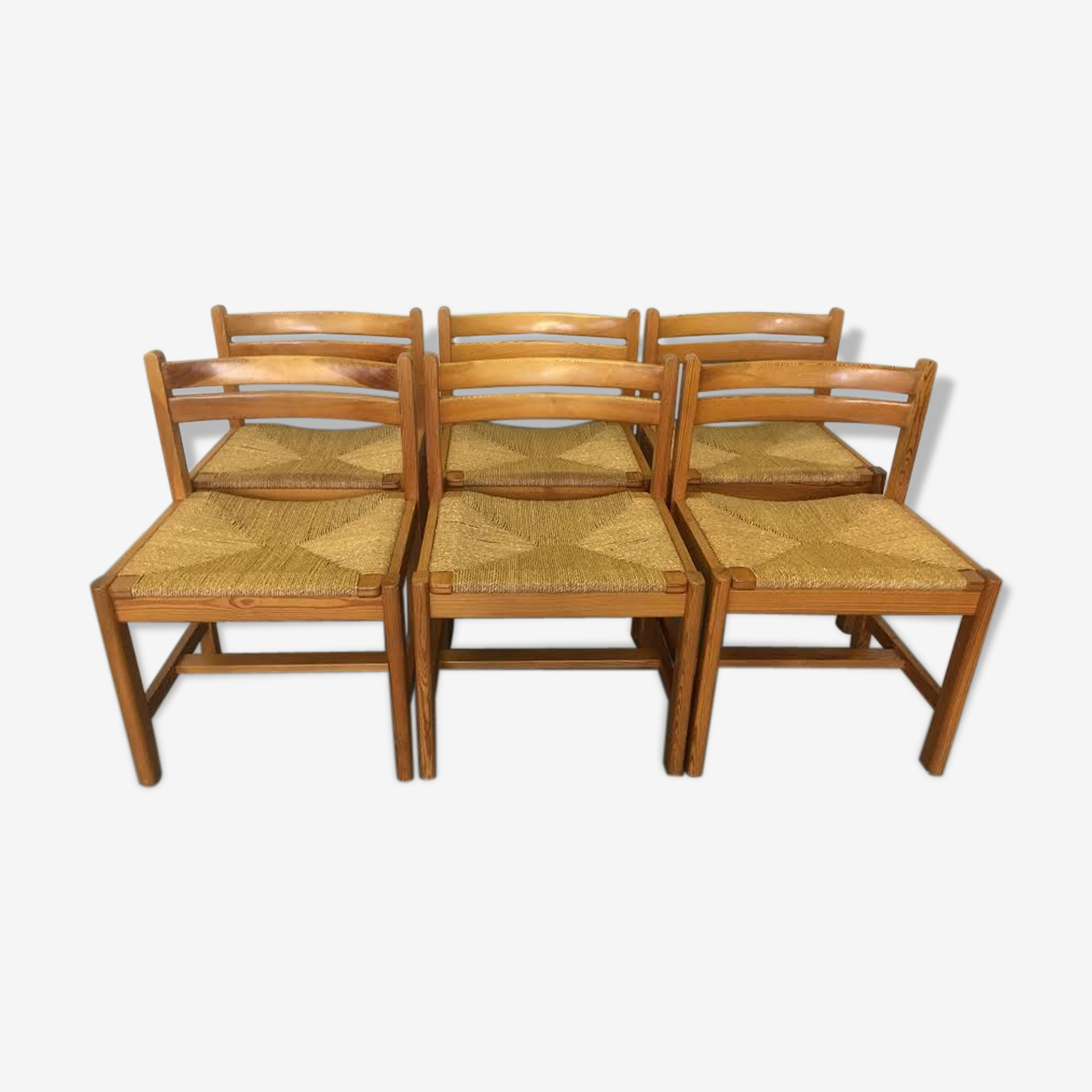 Série de 6 chaises bois brut moderniste scandinave Borge Mogensen