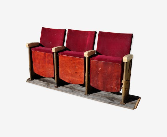 Cinema 3 seated bench Grenat 50s