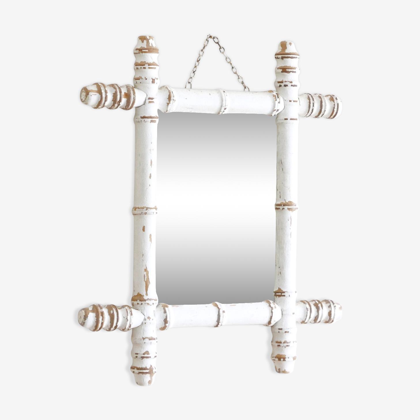 Miroir ancien, cadre en bois tourné, années 20 -  40 x 35.5 cm