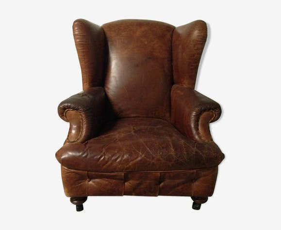 fauteuil club anglais berg re oreilles cuir marron vintage gfvbffw. Black Bedroom Furniture Sets. Home Design Ideas