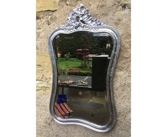 Mirror carved silver 81 x 46 cm