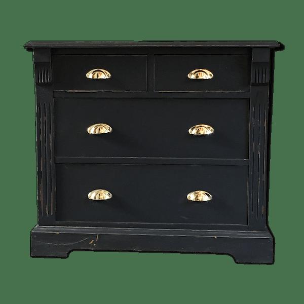 Commode peinte en noir mat - bois (Matériau) - noir - vintage - Sgx458Y