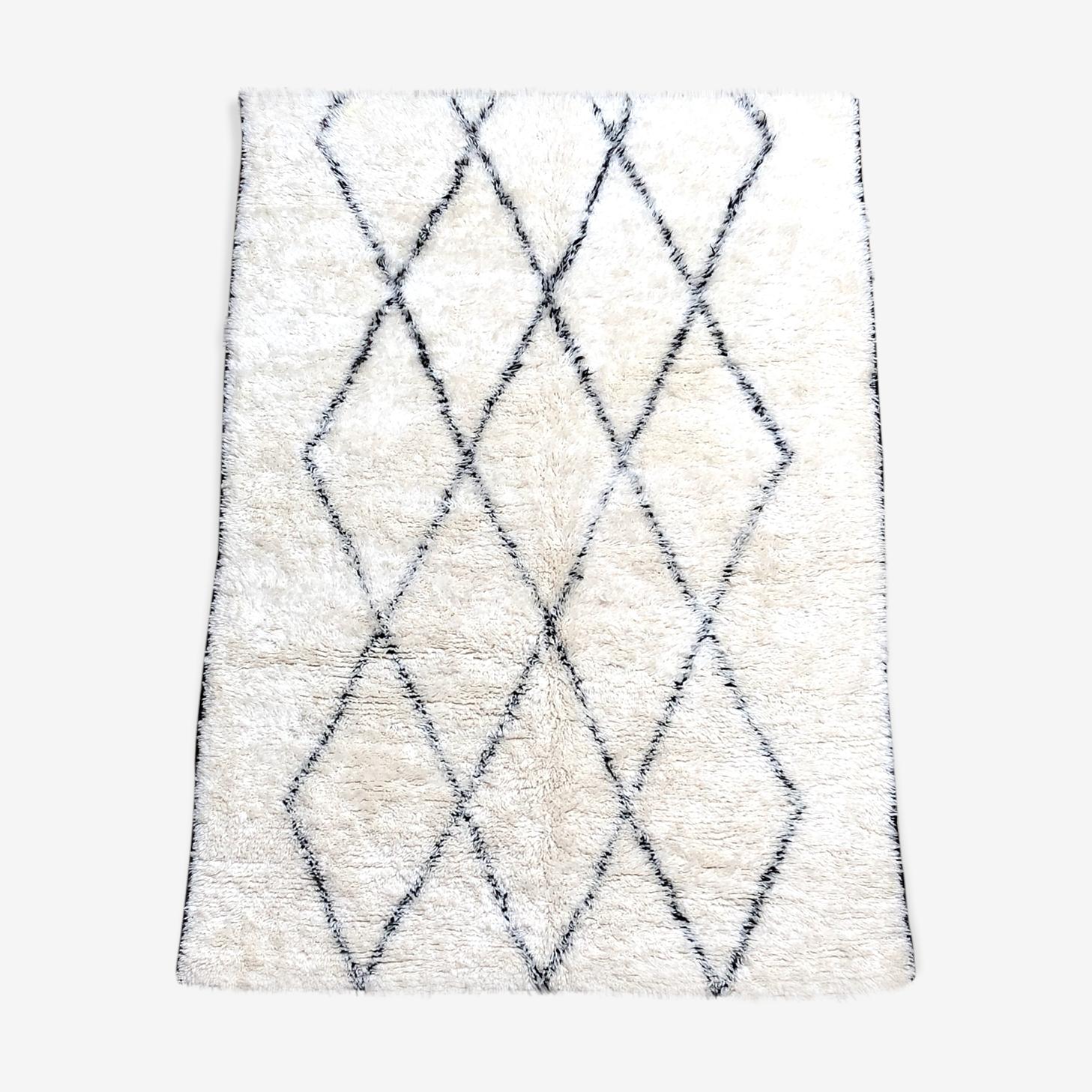 Carpet Berber Moroccan Beni Ouarain Marmoucha 2, 9 x 2, 02 Black diamonds