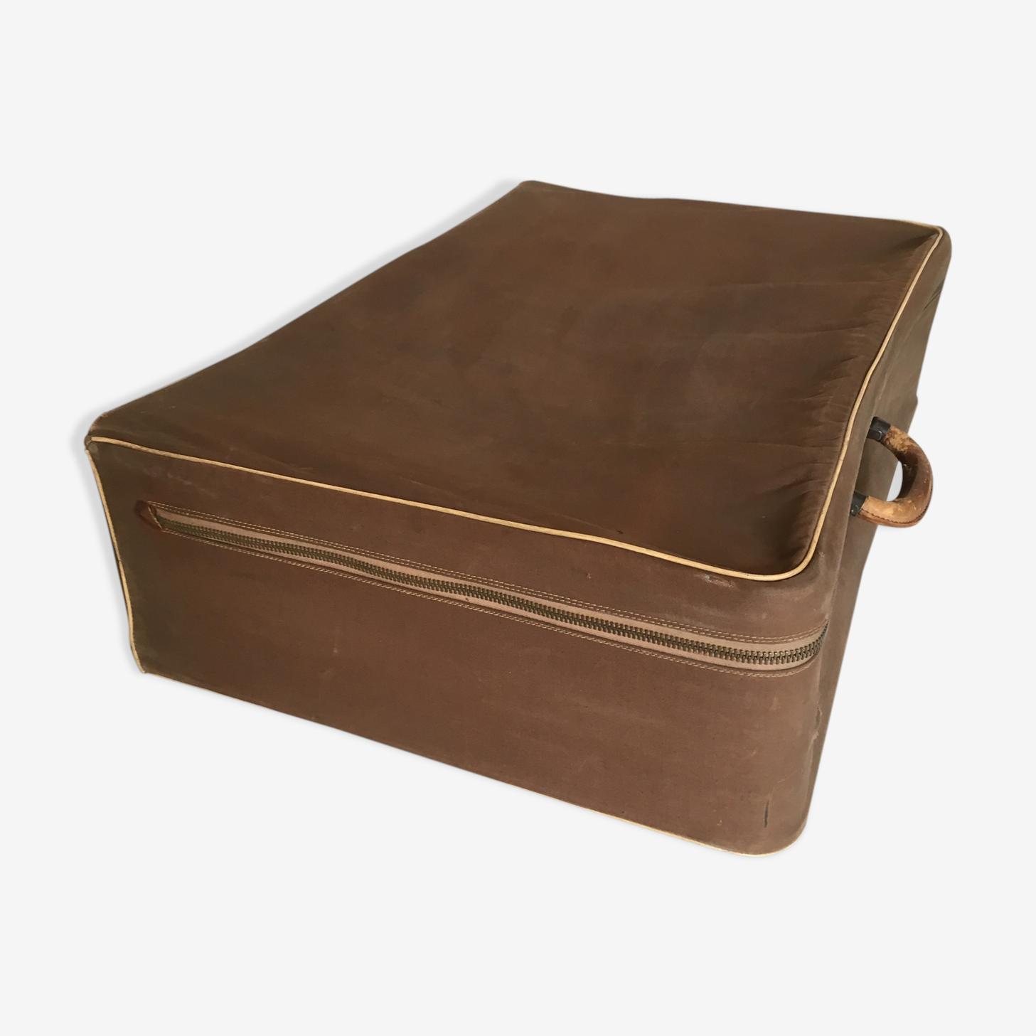Zipped canvas suitcase, 60s