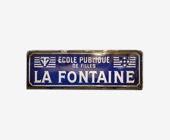 Plaque émaillée école de filles La Fontaine