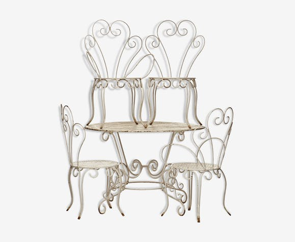 Salon de jardin année 60 en fer forgé 2 chaises 2 fauteuils 1 table ...