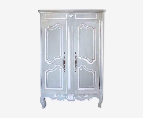 Antique french painted  wedding wardrobe