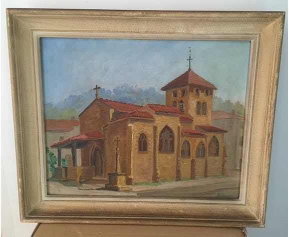 Oil on panel representing a church