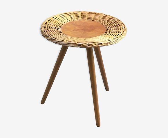 Table basse d'appoint tripode en rotin ou bout de canapé