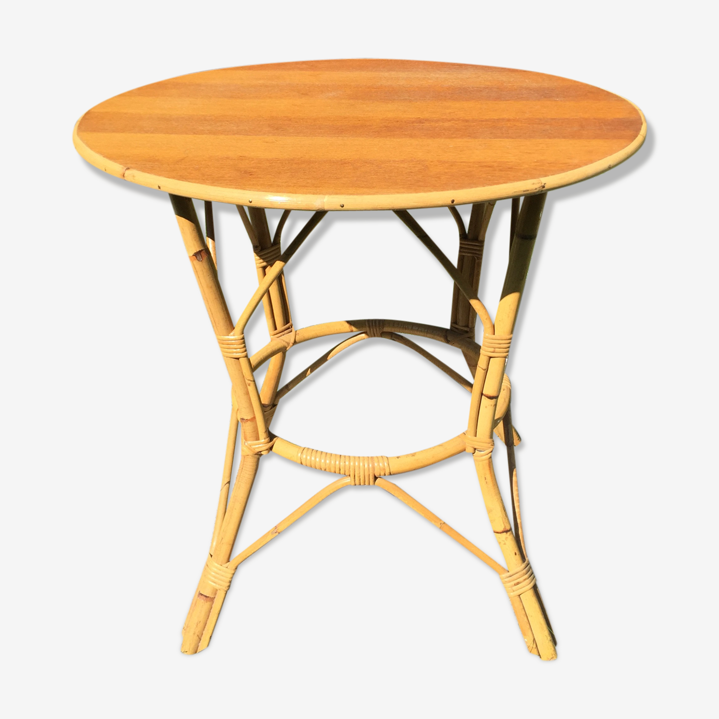 Bamboo and rattan 1960 vintage table