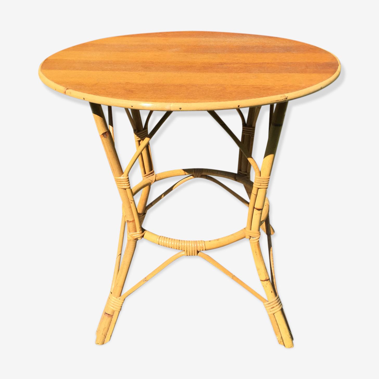 Table en bambou et rotin 1960 vintage