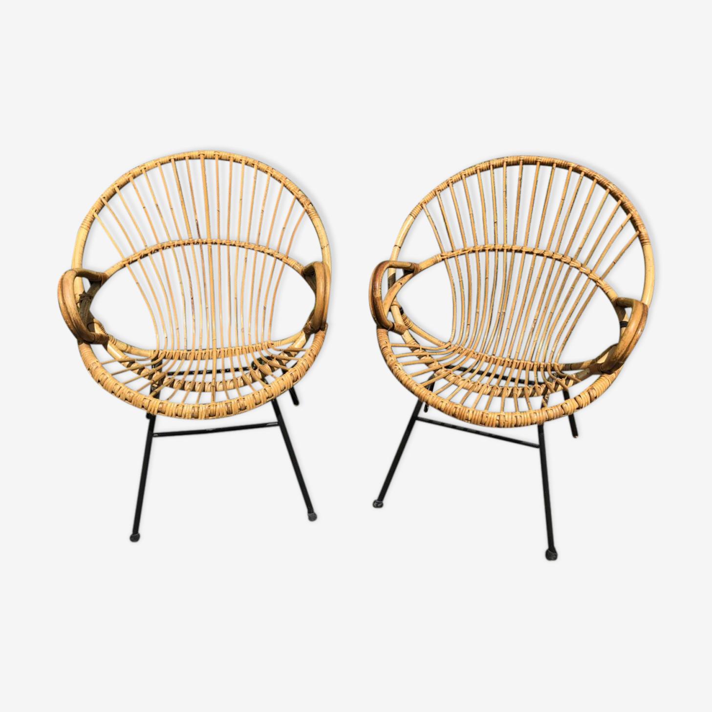 Paire de fauteuils en rotin années 60