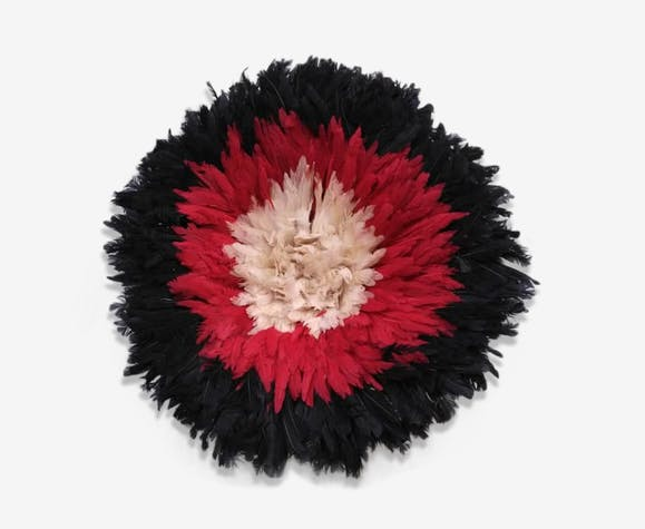 Juju hat intérieur blanc contour rouge puis noir de 60 cm