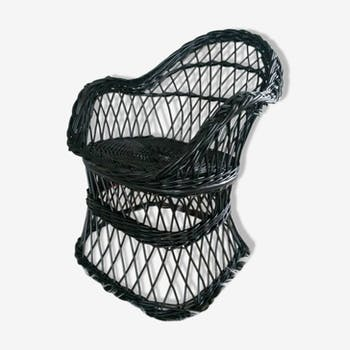 Child black rattan chair