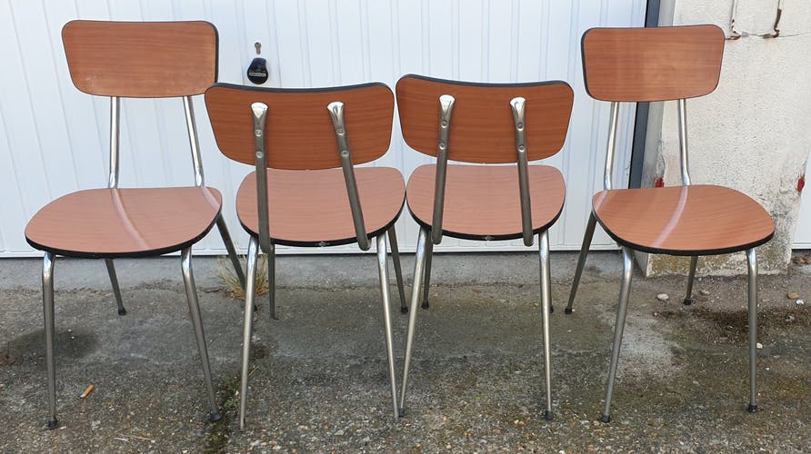 Set 4 chaises formica Roc couleur caramel vintage années 50