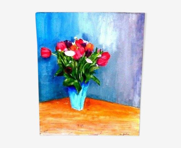 Tableau Peinture Sur Carton Entoile Modele De Bouquet De Fleurs Par C Salmon Selency