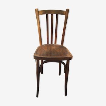 Chaise bistrot vintage en bois tourné marron fauve