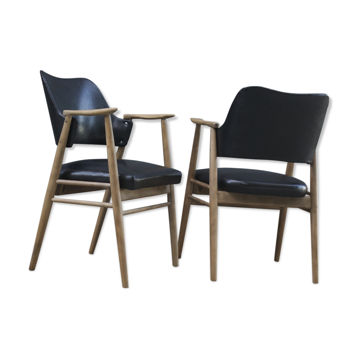 Paire de fauteuil de bureau scandinave année skaï noir