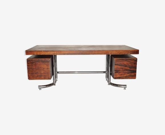 Bureau en bois de rose et métal des années 70 bois matériau