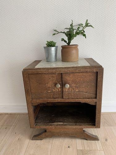 Table de chevet marbre et bois
