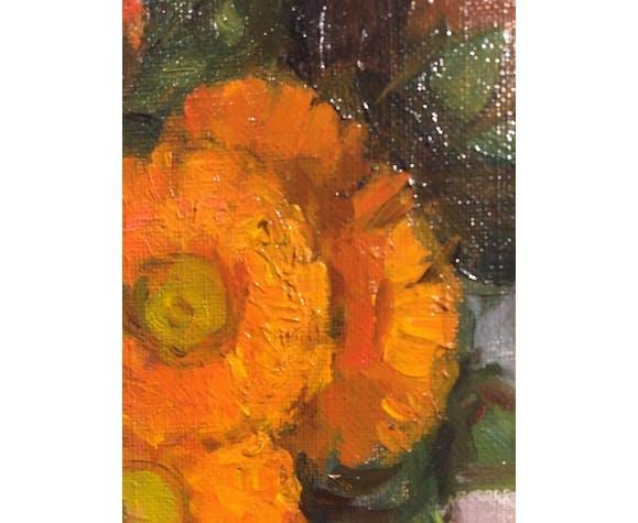 Nature morte au pichet et bouquet de fleur, signé