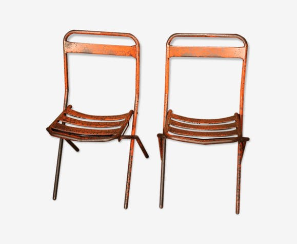 De Chaises En Orange Paire Tolix Pliantes Métal 92DHEI