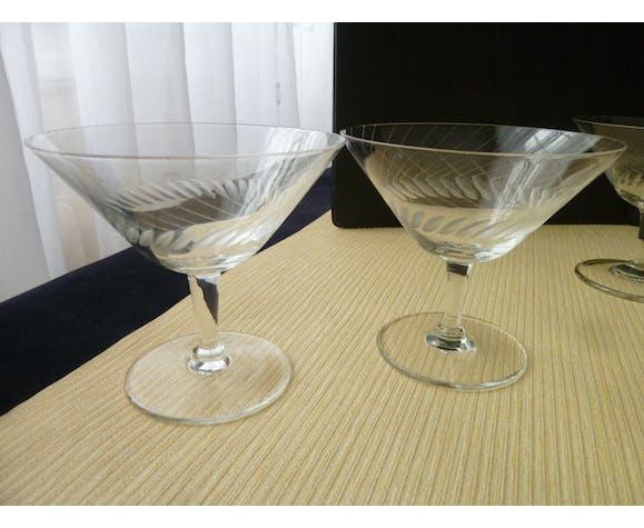 Set de 4 coupes à champagne en cristal meulé vintage