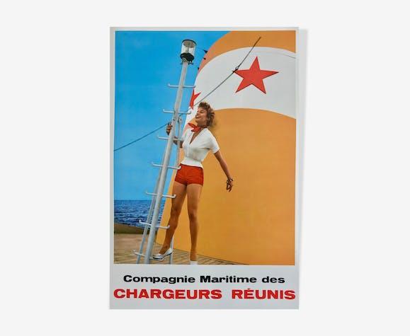 Affiche vintage, Compagnie Maritime des Chargeurs réunis